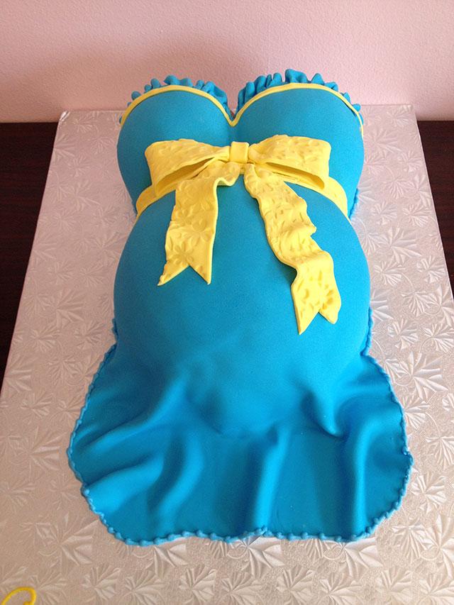 Light Blue Pregnant Belly Babyshower Cake
