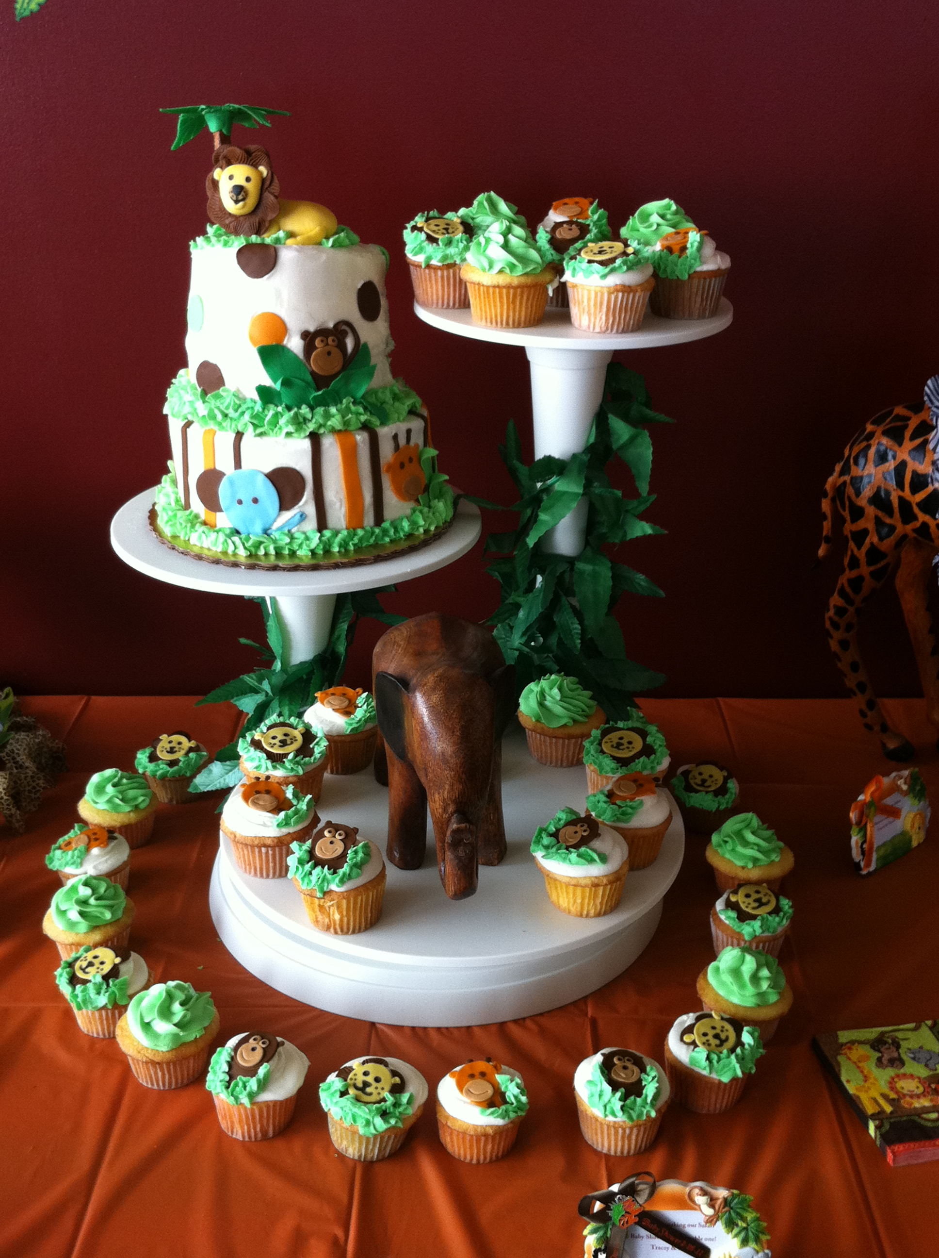 Jungle Theme Baby Shower Cake Decorations